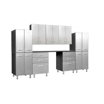 Metallic Series 90 in. H x 118 in. W x 21 in. D 10-Piece with 6-Drawer, Two 4-Door Towers, Overhead Cabinet