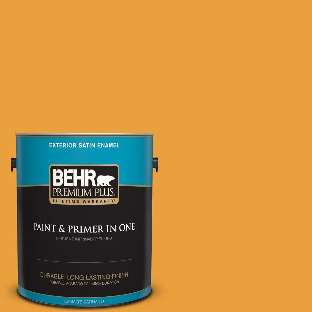 1 gal. #HDC-FL14-5 Gilded Leaves Satin Enamel Exterior Paint