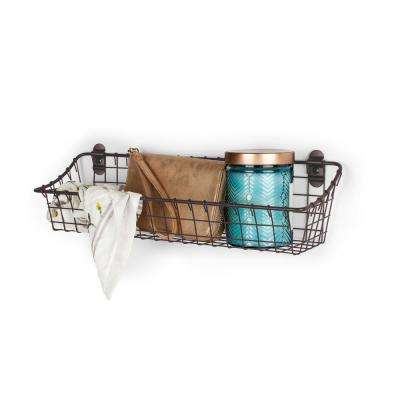 Vintage 4.75 in. x 16.25 in. x 4.5 in. Wall Mount Basket in Bronze