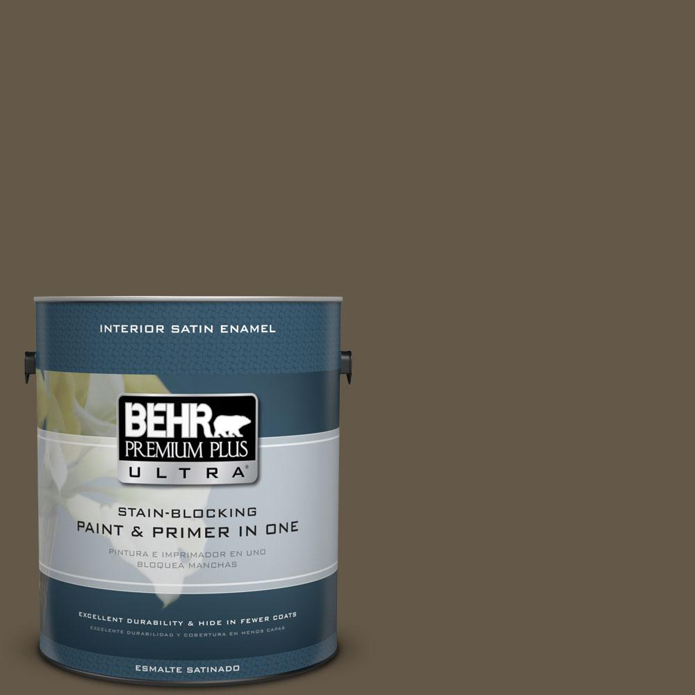 1 gal. #740D-7 Frontier Shadow Satin Enamel Interior Paint and Primer