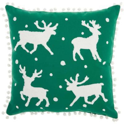Home For The Holiday Reindeer Green Graphic Polyester 18 in. x 18 in. Throw Pillow
