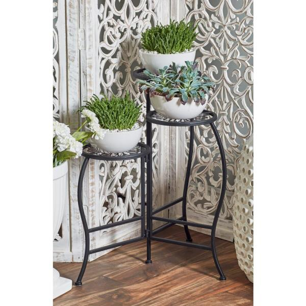 2ebd3062a7e7 Litton Lane Black Iron Folding Plant Stand 45080 - The Home Depot
