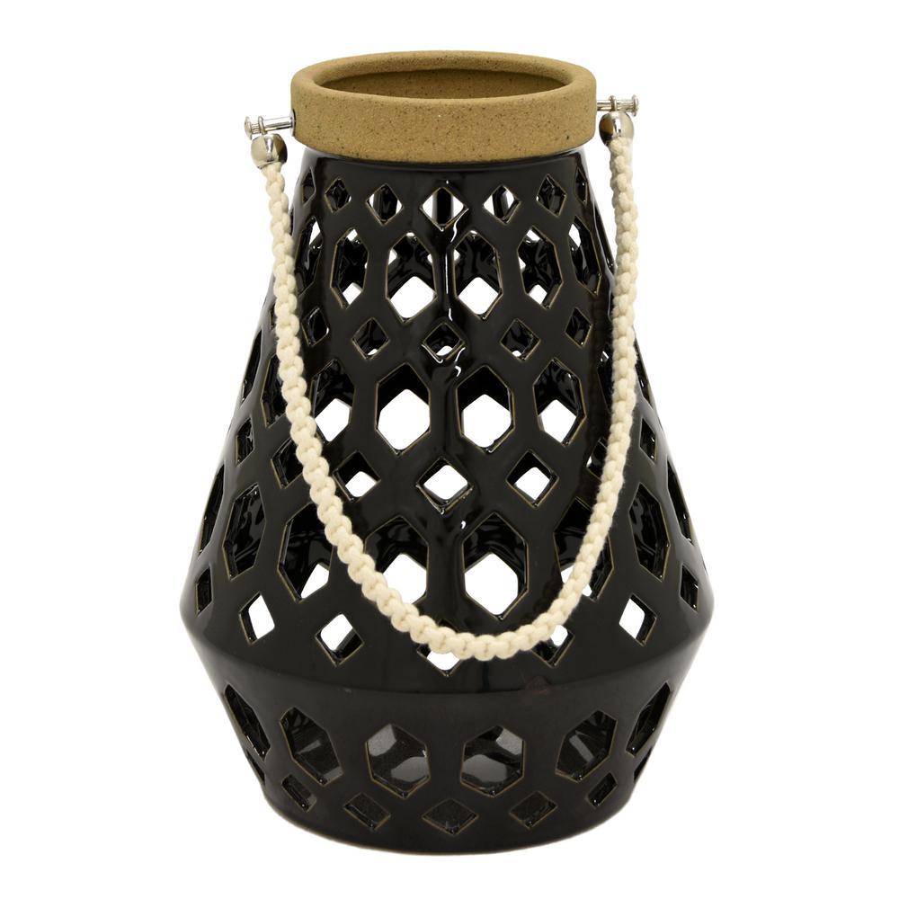 8.5 in. x 8.5 in. Black Ceramic Lantern