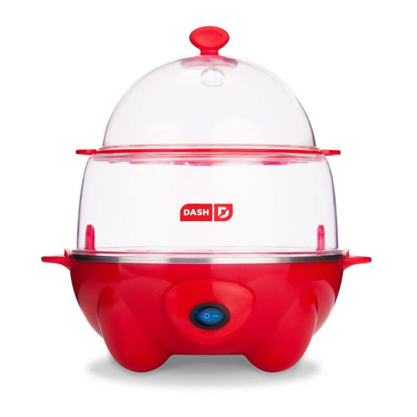 Dash Deluxe 12-Egg Red Egg Cooker with Automatic Shut-off