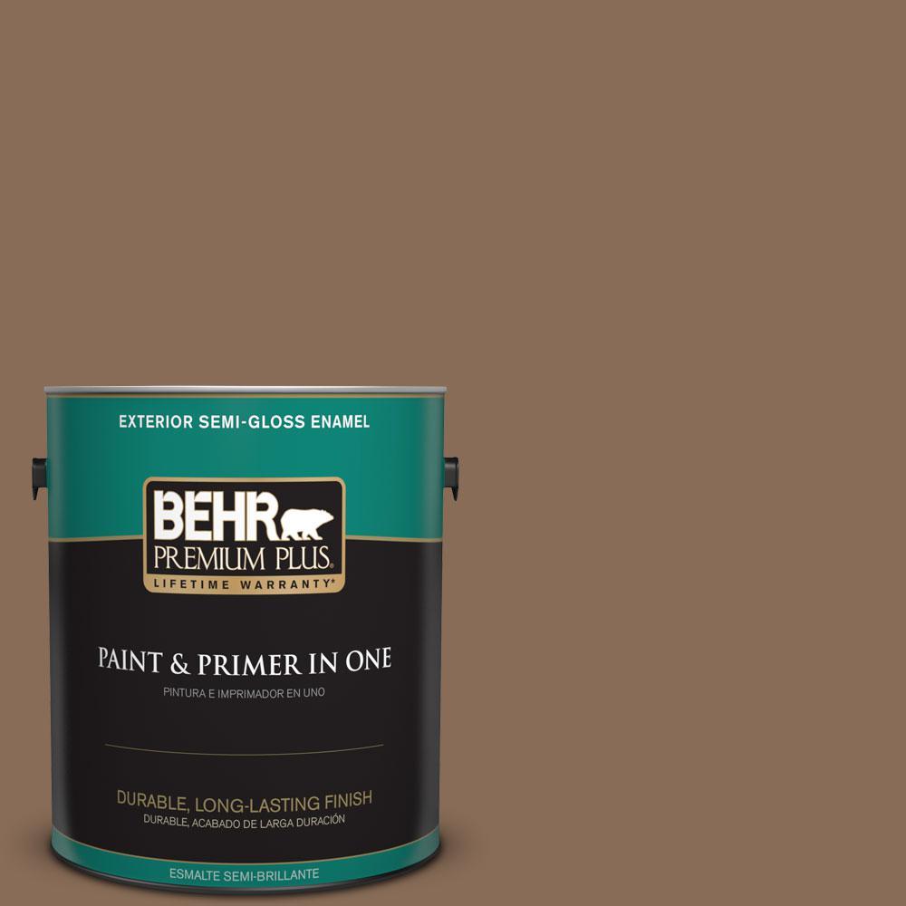 BEHR Premium Plus 1-gal. #BNC-34 Spiced Latte Semi-Gloss Enamel Exterior Paint