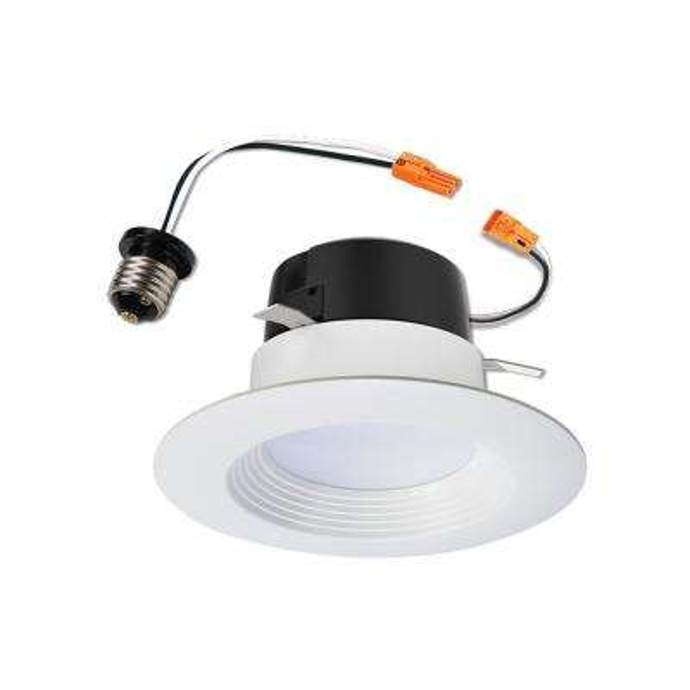 4 in. White Integrated LED Retrofit Recessed Baffle Trim