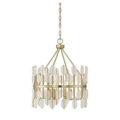 4-Light Noble Brass Pendant with Clear Glass