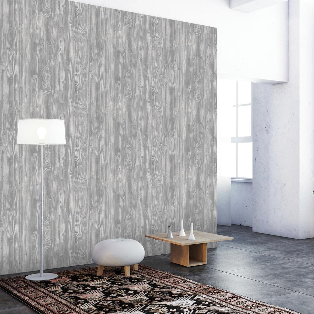 Pewter Woodgrain Wallpaper