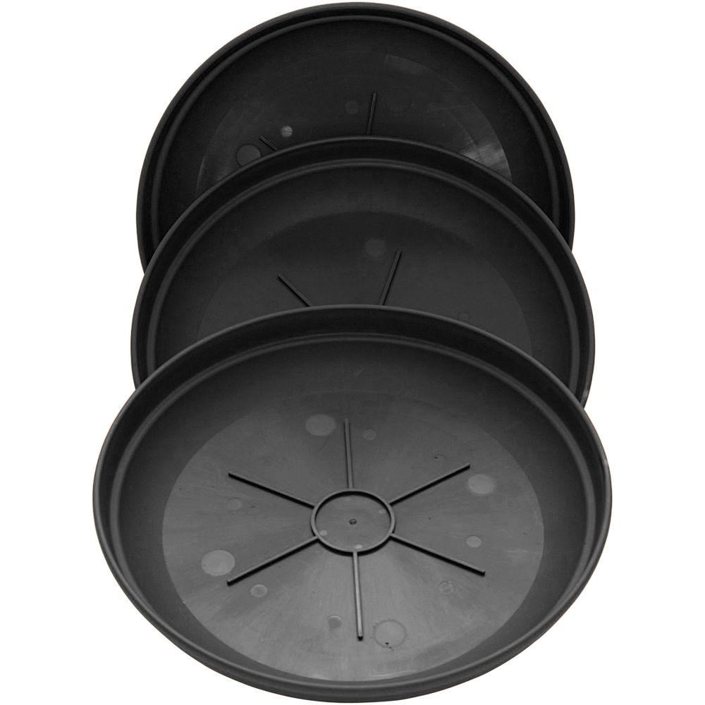 Newbury 14 in. Black Poly Saucer