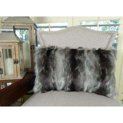 Brandy Ash 12 in. x 20 in. Gray Charcoal Hypoallergenic Down Alternative Handmade Throw Pillow