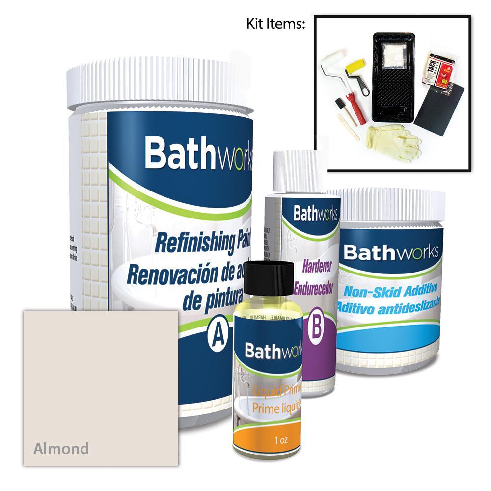 BATHWORKS 22 oz. DIY Bathtub Refinishing Kit with Slip Guard in Almond