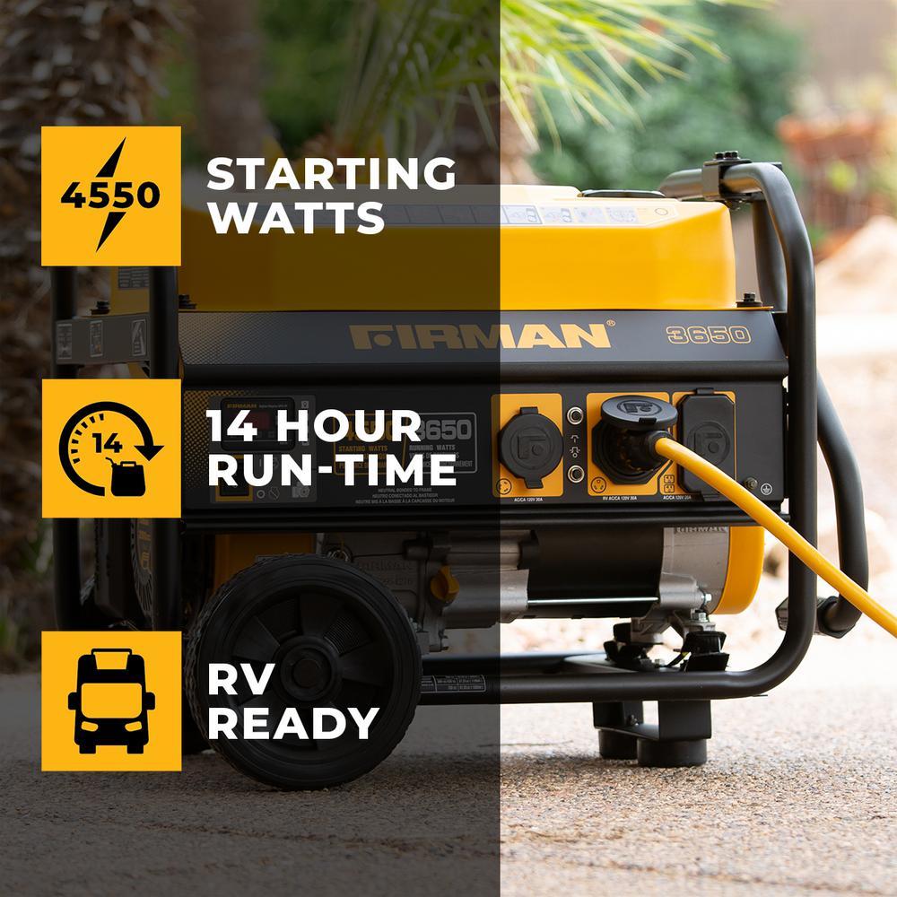 Firman 4550/3650-Watt Recoil Start Gas Portable Generator cETL Certified With Wheel Kit