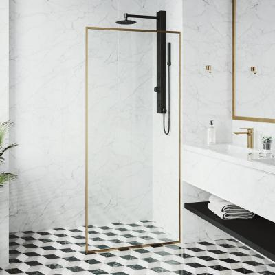 33 in. x 73 in. Framed Fixed Shower Door in Matte Gold Without Handle
