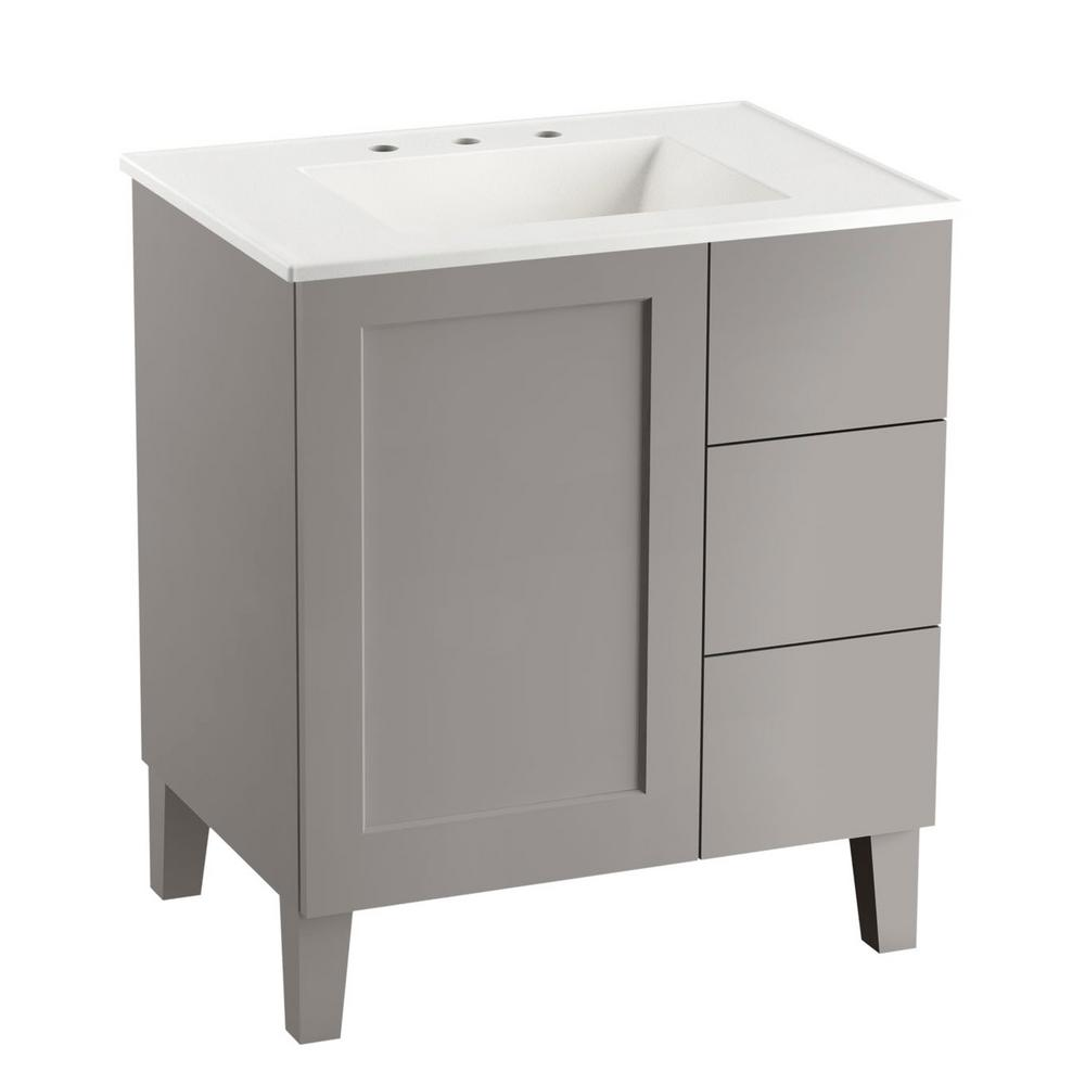 KOHLER Poplin 30 in. W Vanity in Mohair Grey with Vitreous China Vanity Top in White Impressions with White Basin