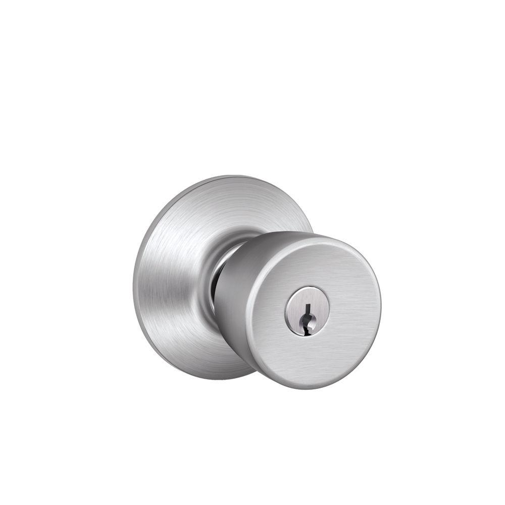 Schlage Bell Satin Chrome Keyed Entry Door Knob