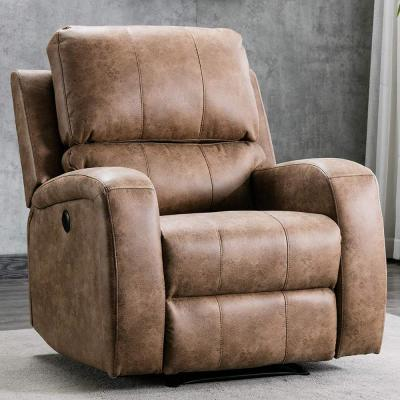 Mocha Overstuffed Power Recliner Chair with Air Suede Leather and USB Charge Port