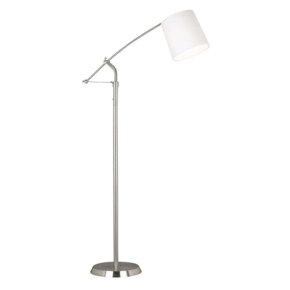 Kenroy Home Reeler 54-64 in. Brushed Steel Floor Lamp