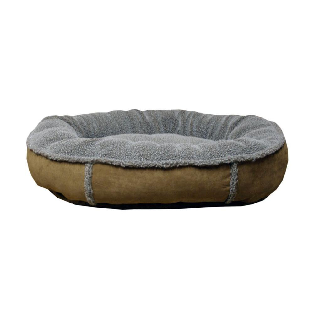 null Medium Brown Faux Suede and Tipped Berber Round Comfy Cup