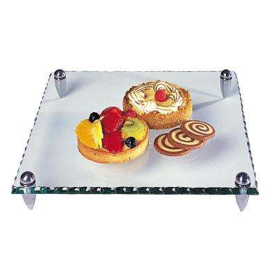 Mercury Square 12 in. Glass Serving Tray with Hammered Edge