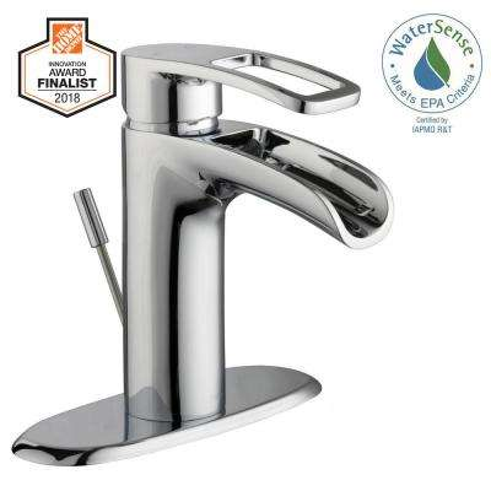 Kiso Single Hole Single-Handle Low-Arc Bathroom Faucet in Chrome