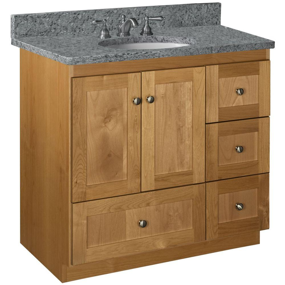 Shaker 36 in. W x 21 in. D x 34.5 in. H Vanity with Right Drawers Cabinet Only in Natural Alder