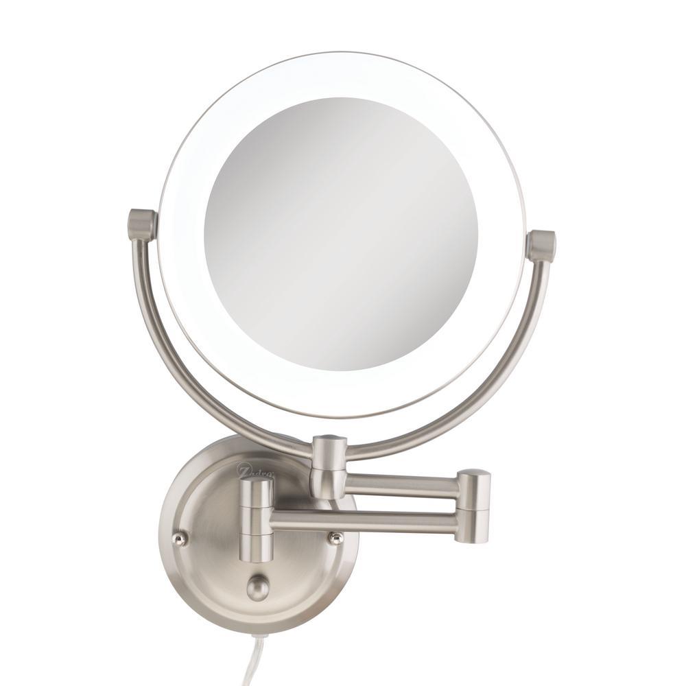 12 in. x 17.13 in. Surround Fluorescent Wall Mount Bi-View 10X/1X Hardwired Vanity Beauty Makeup Mirror in Satin Nickel