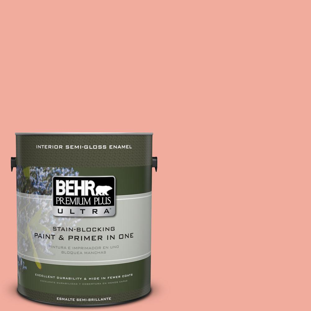 BEHR Premium Plus Ultra 1-gal. #200D-4 Powdered Petals Semi-Gloss Enamel Interior Paint