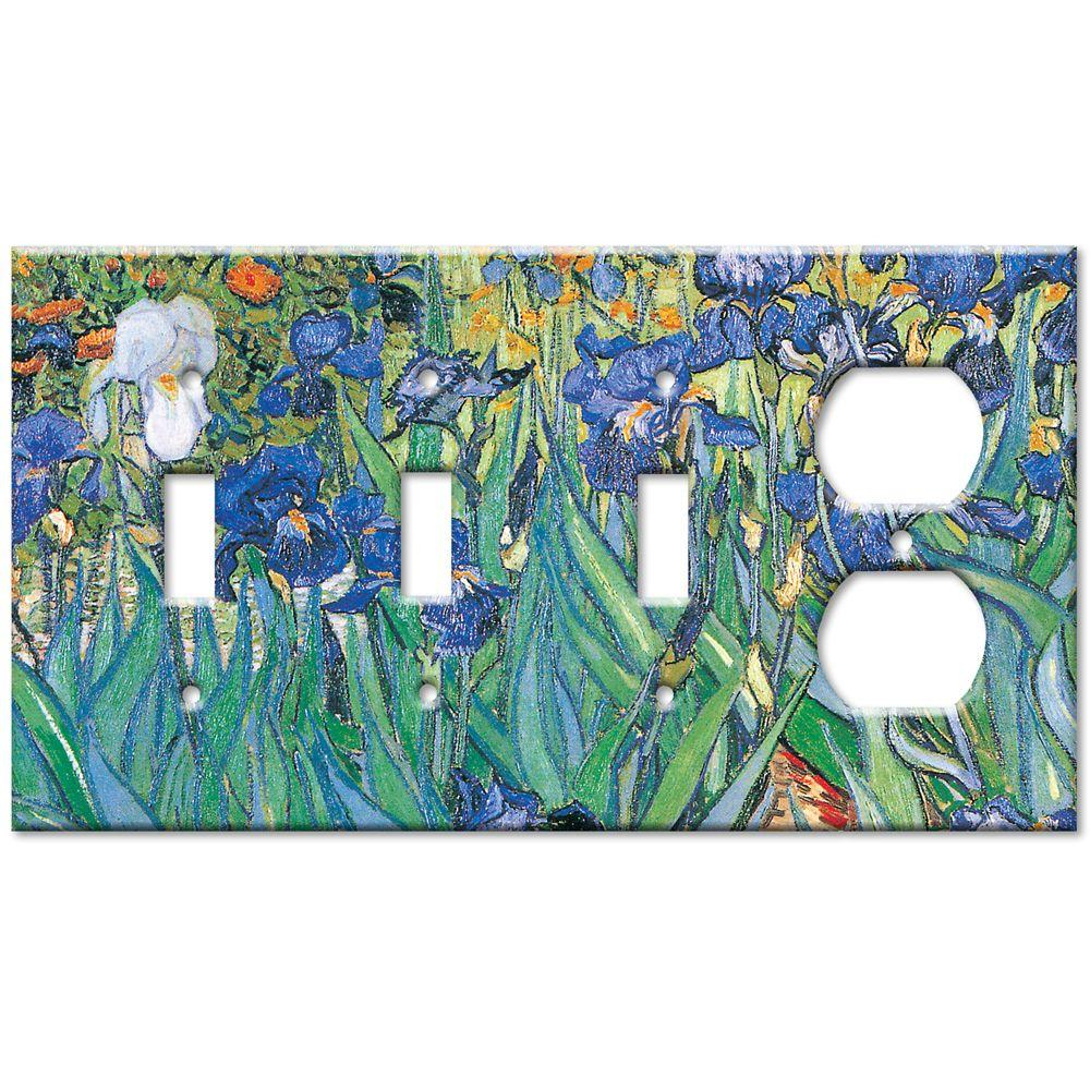 Art Plates Van Gogh Irises 3 Switch/Outlet Combo Wall Plate