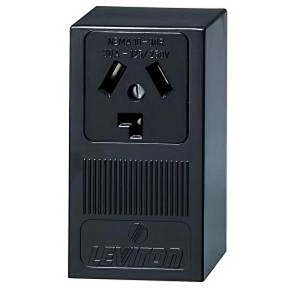 Leviton 30 Amp Surface Mount Power Single Outlet, Black