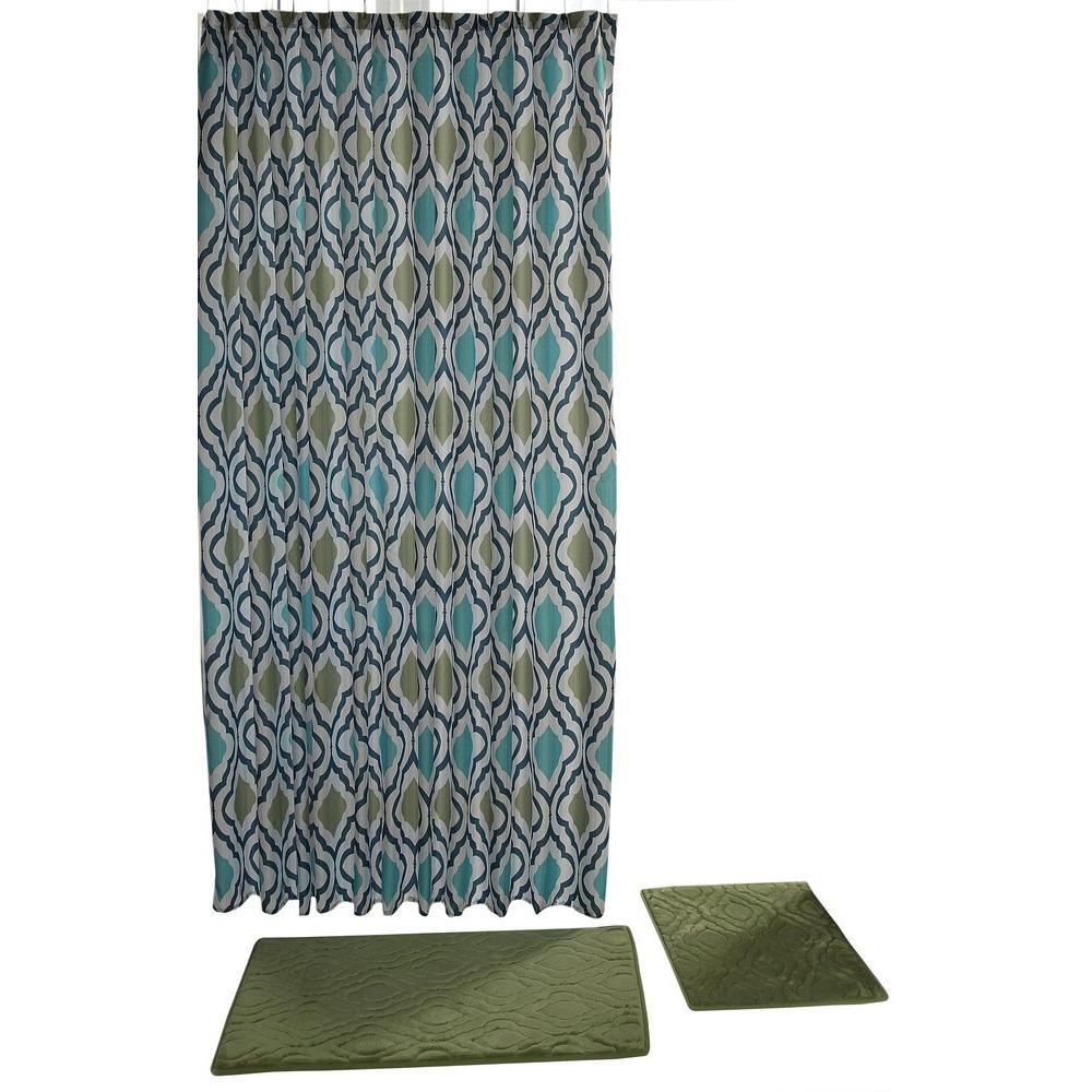 Chesapeake Merchandising Falcon Sage 15-Piece Shower Curtain Set ...