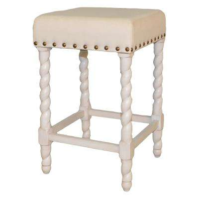 Remick 24 in. Vintage White and Linen Barley Twist Upholstered Counter Stool