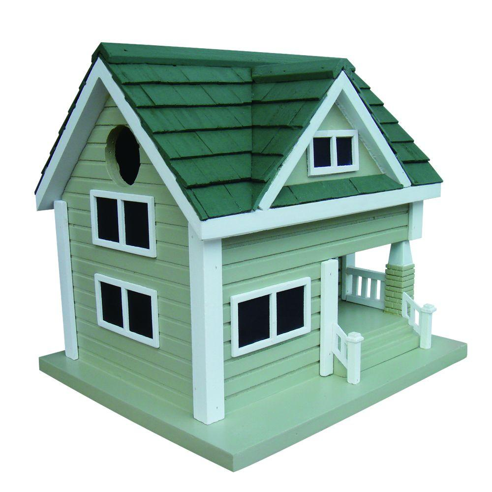 Grey with Green Roof Bungalow Birdhouse