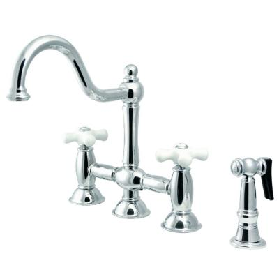 Restoration 2-Handle Bridge Kitchen Faucet with Side Sprayer in Polished Chrome