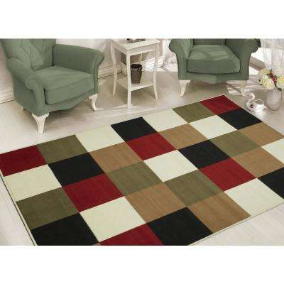 Clifton Collection Modern Boxes Design Multi 8 ft. x 10 ft. Area Rug