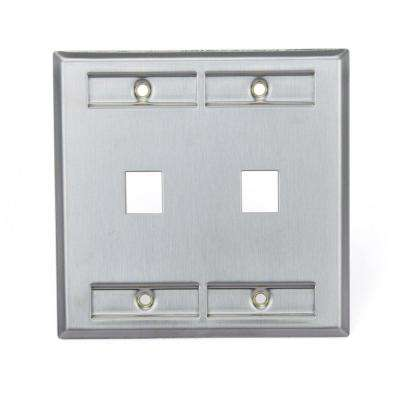 2-Gang QuickPort Standard Size 2-Port Wallplate with ID Windows, Stainless Steel