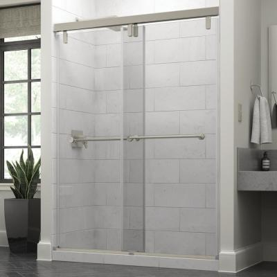 Lyndall 60 x 71-1/2 in. Frameless Mod Soft-Close Sliding Shower Door in Nickel with 3/8 in. (10mm) Clear Glass