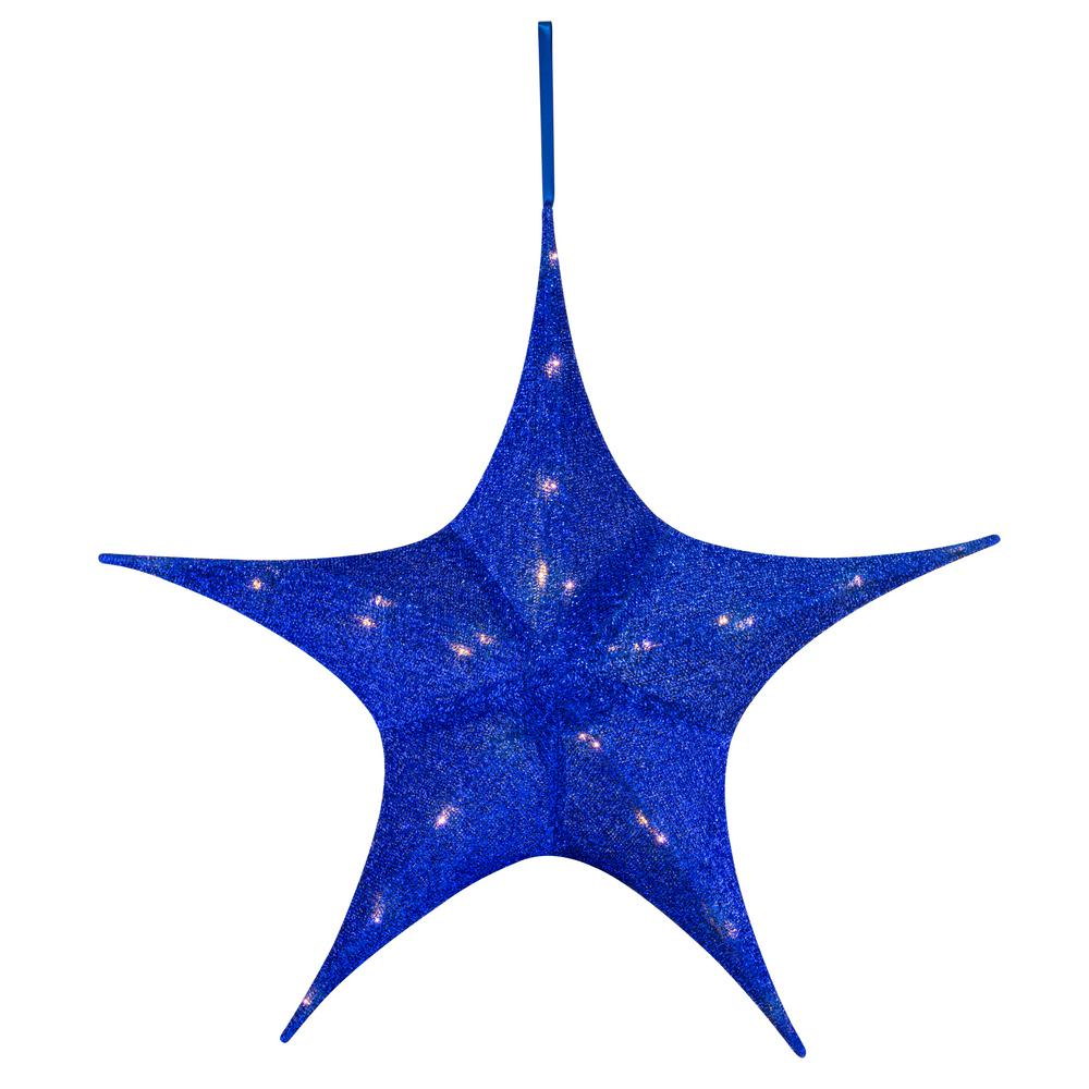 mr christmas 25 in blue tinsel star - Mr Christmas Outdoor Decorations