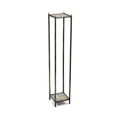 Cast Iron  Gray Stone Slab 2-Tier Large Square Plant Stand