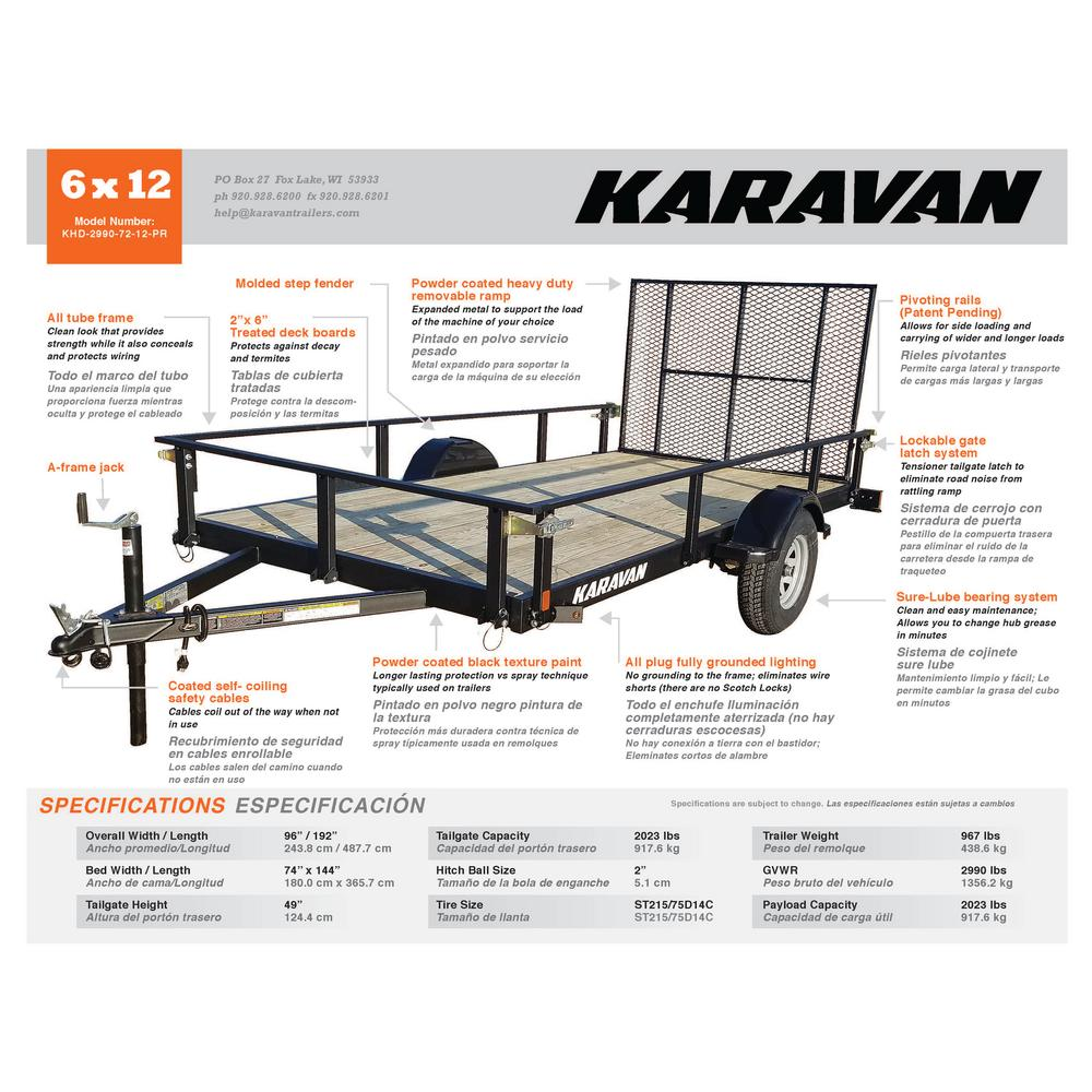 Karavan 2029 lb. Payload Capacity Trailer-KHD-2990-72-12-PR - The ...