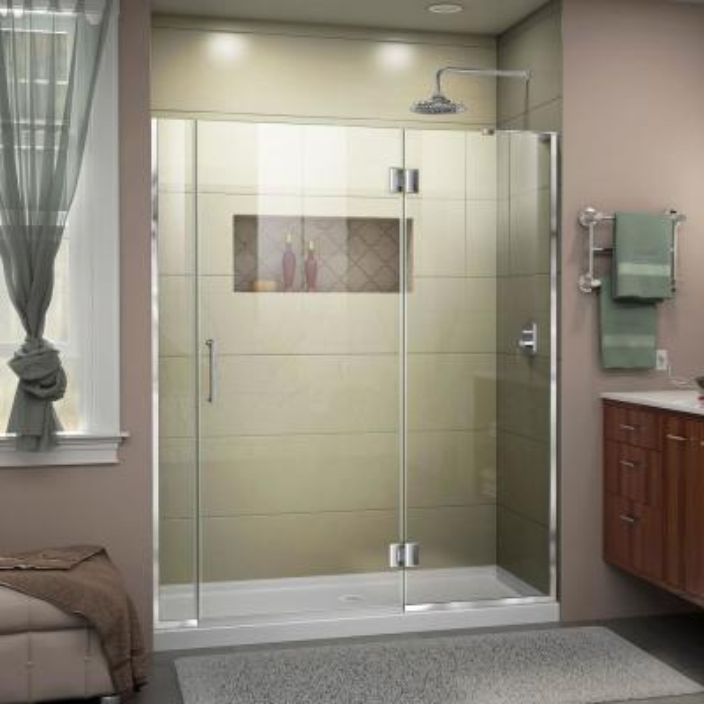 Unidoor-X 57.5 to 58 in. x 72 in. Frameless Hinged Shower Door in Chrome