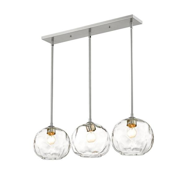 3-Light Brushed Nickel Island Light with Clear Glass