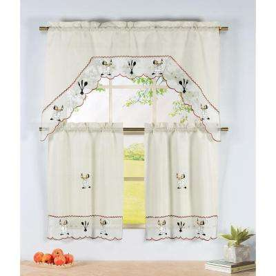 Semi-Opaque Wine Chef Embroidered 3-Piece Kitchen Curtain Tier and Valance Set