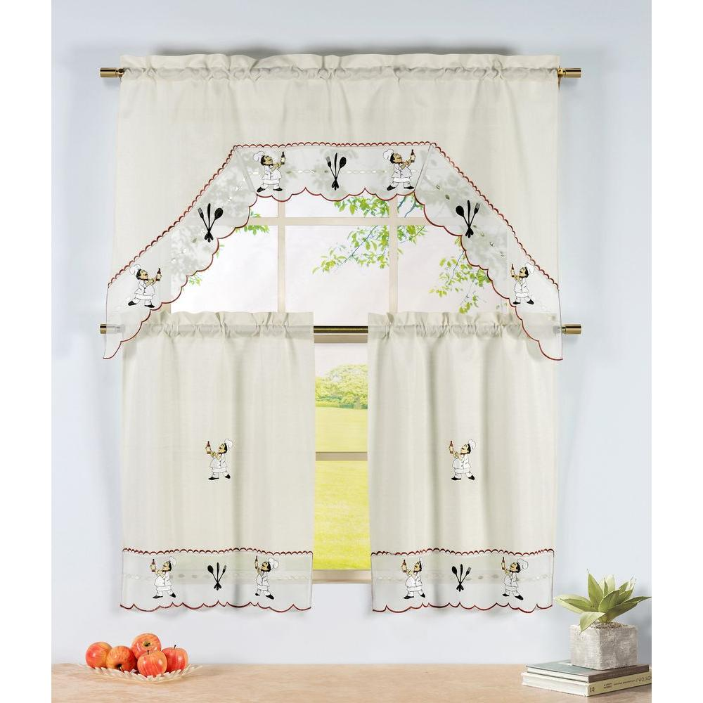 Semi opaque wine chef embroidered 3 piece kitchen curtain tier and valance set