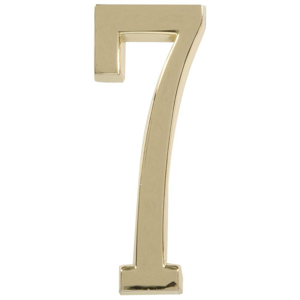 The Hillman Group 4 in. Distinctions Brass Plated Number 7 ...
