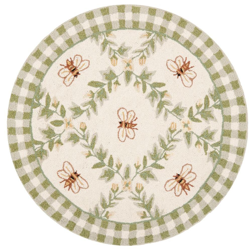 Chelsea Ivory/Green 3 ft. x 3 ft. Round Area Rug
