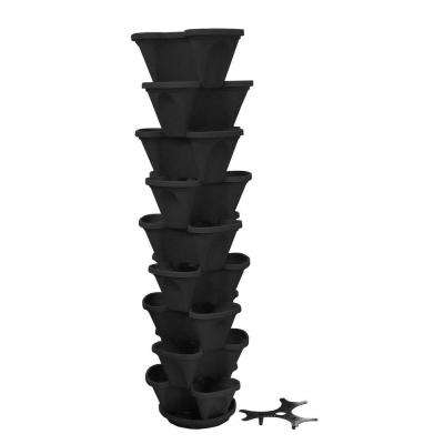 12 in. Self Watering Black Stacking Planter Set (9-Pack)