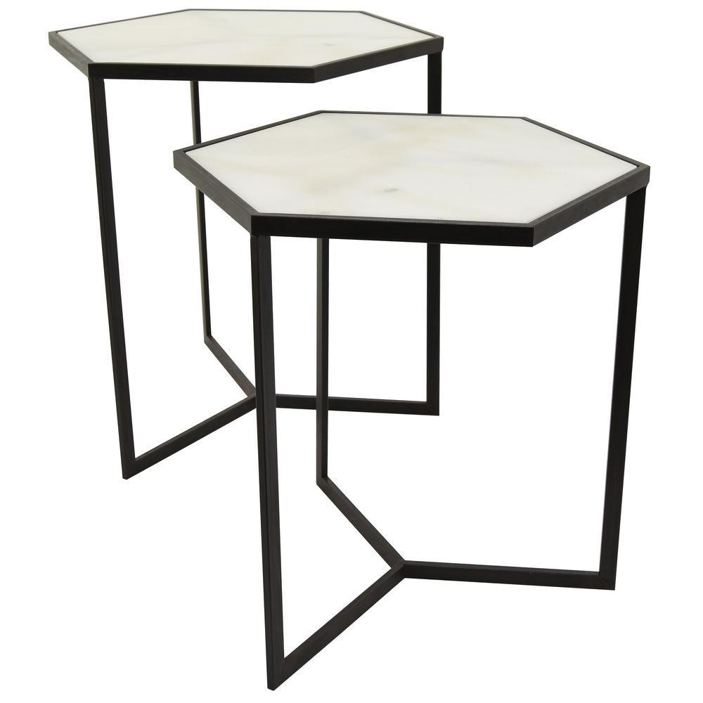 23.25 in. Black Metal Marble Top Tables (Set of 2)