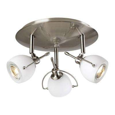3-Light Satin Nickel Ceiling Flushmount with Matte Opal Glass