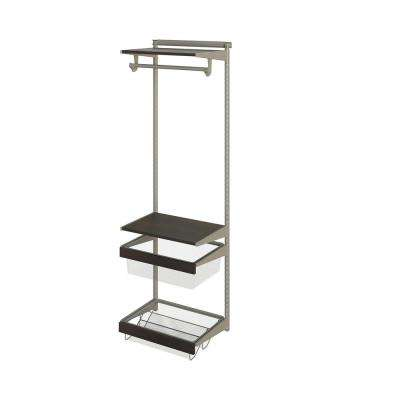 Closet Culture 16 in. D x 24 in. W x 78 in. H  with 2 Espresso Wood Shelves Steel Closet System