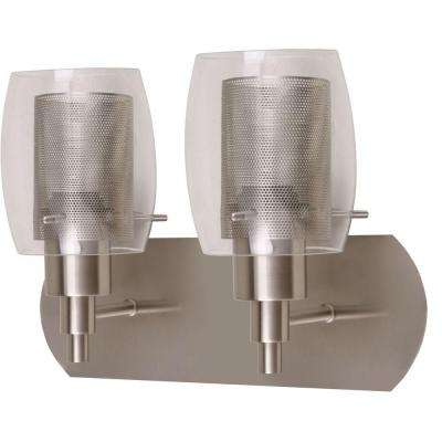 Lettie 2-Light Satin Nickel Vanity Light with Clear Glass and Mesh Shades